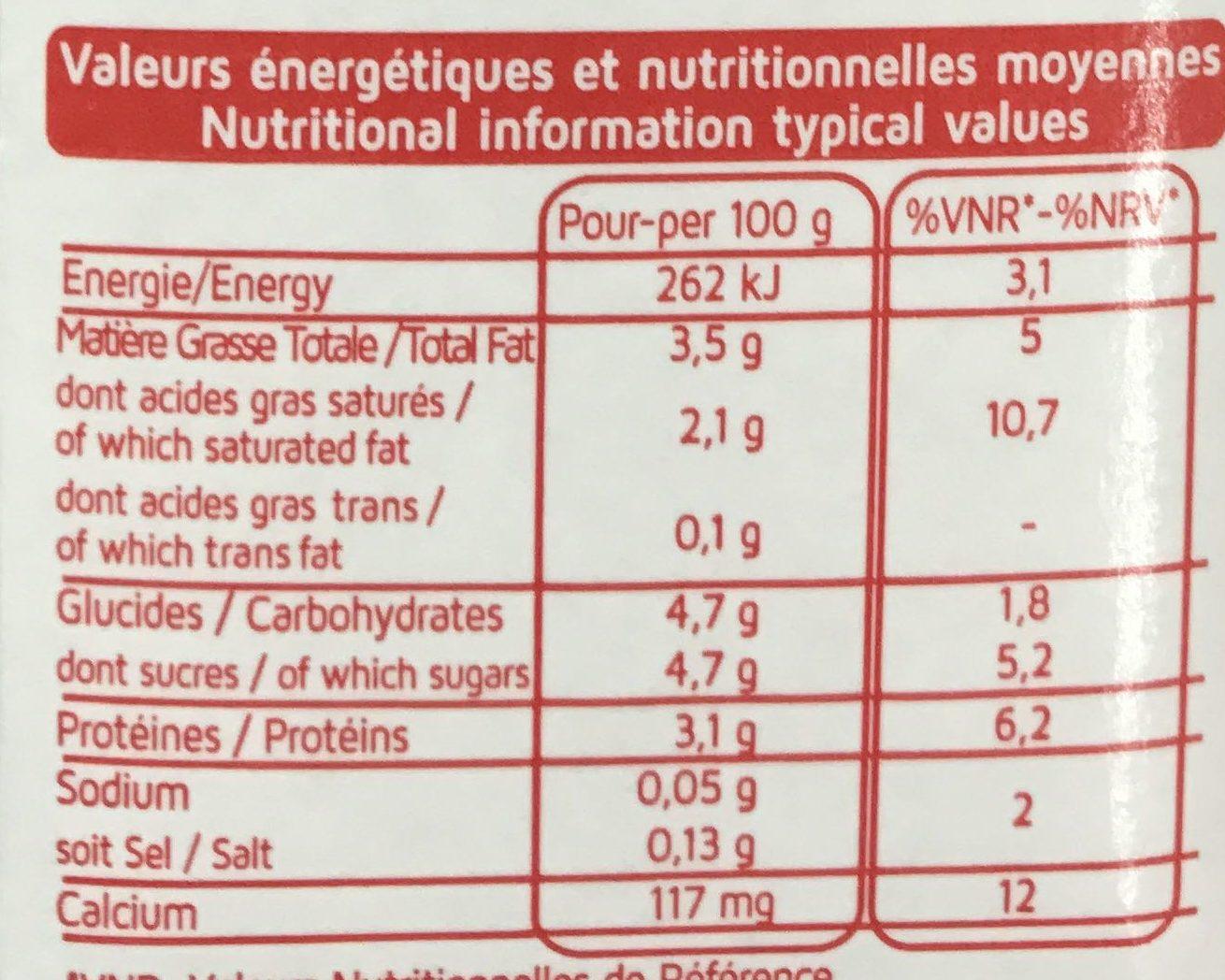 Lait Entier - Nutrition facts