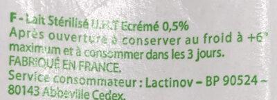 Lait stérilisé écrémé - Ingredients - fr