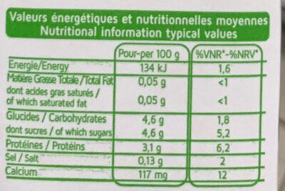 Lait stérilisé écrémé - Nutrition facts - fr