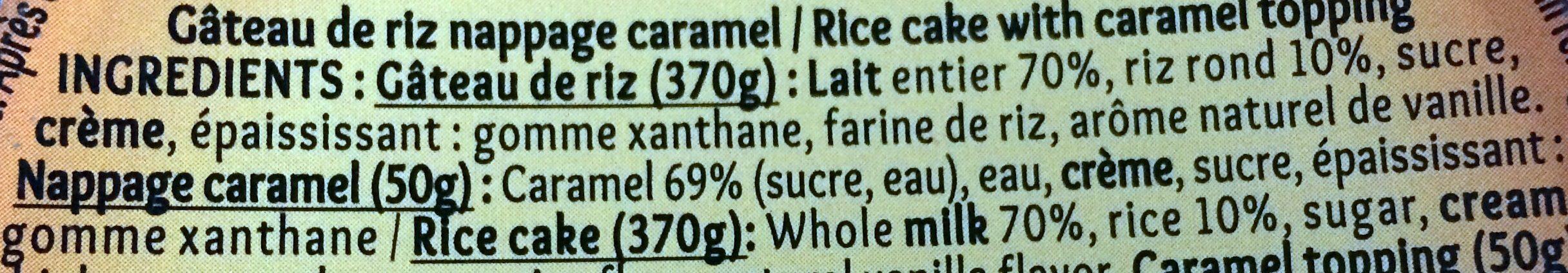Mon gâteau de riz nappé de caramel - Ingredients - fr