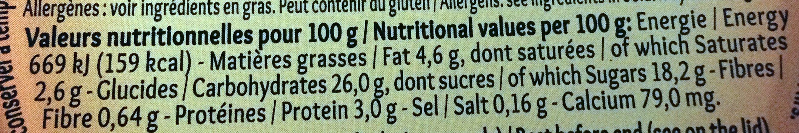 Mon gâteau de riz nappé de caramel - Nutrition facts - fr