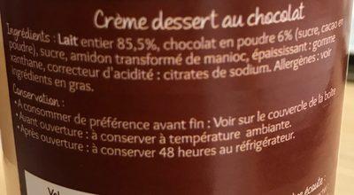 Creme dessert au chocolat - Ingredients