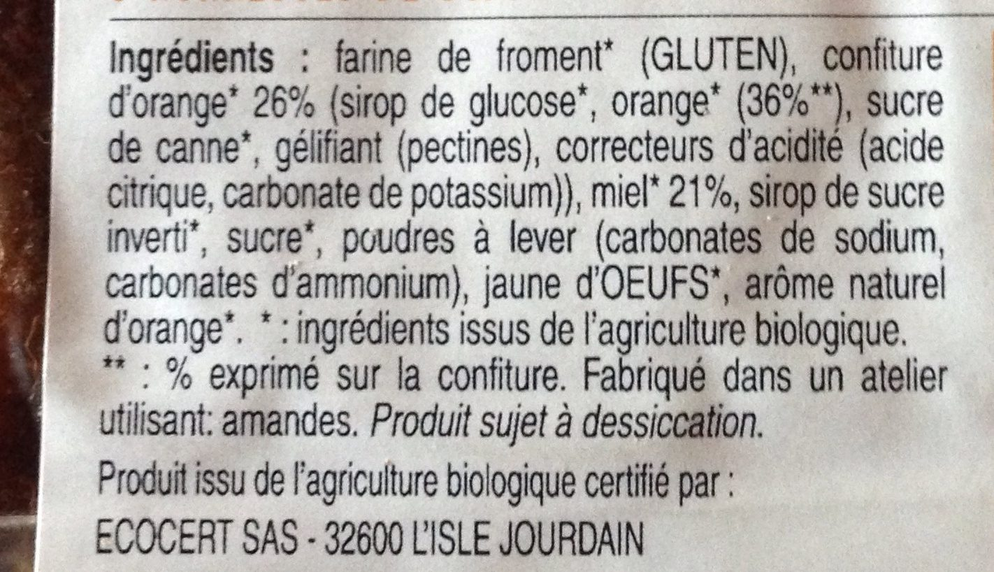 Nonnettes de dijon a la confiture d'orange - Ingredients - fr