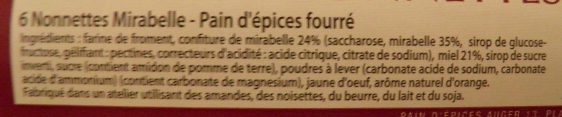 Nonnettes Mirabelle Auger - Ingredients - fr