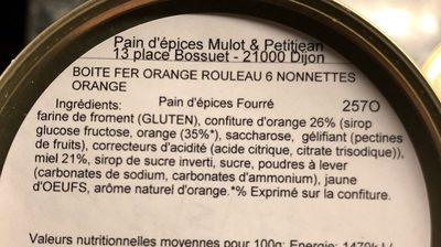 Nonnettes orange - Ingrédients - fr
