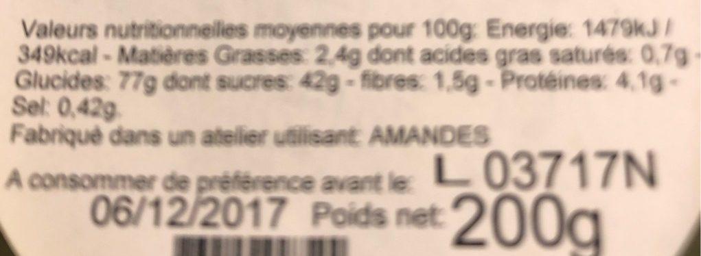 Nonnettes orange - Informations nutritionnelles - fr