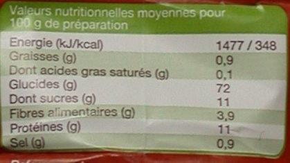 Préparation pour brioche levure boulangère incorporée - Informations nutritionnelles - fr