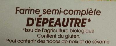 Farine semi-complète d'épeautre bio - Ingredients - fr