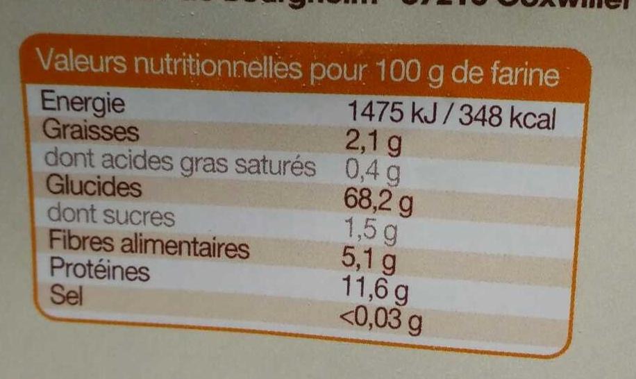 Farine semi-complète d'épeautre bio - Nutrition facts - fr
