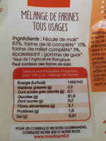 Farines tous usages bio sans gluten - Ingredients