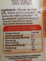 Farines tous usages bio sans gluten - Nutrition facts