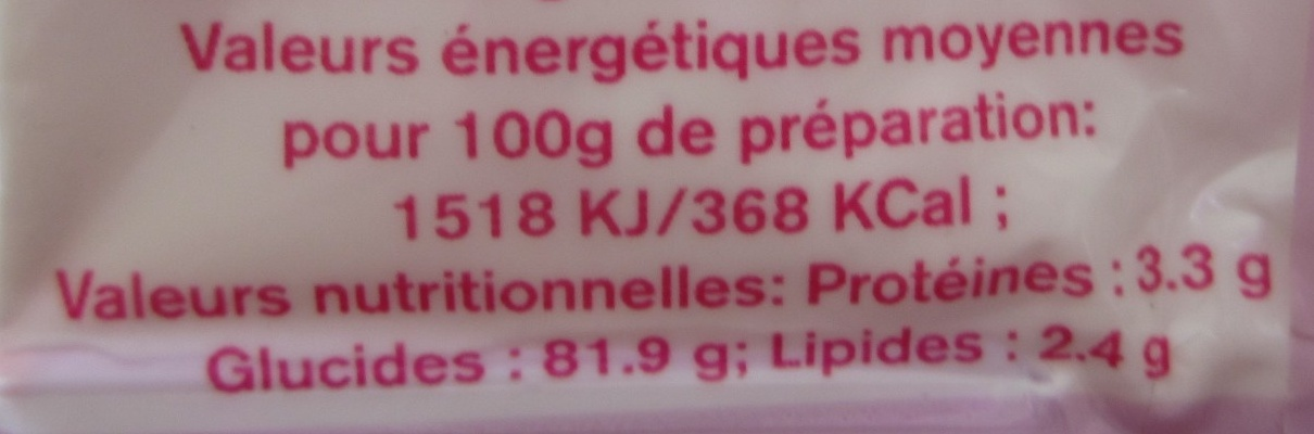 Préparation pour génoise - Informations nutritionnelles - fr