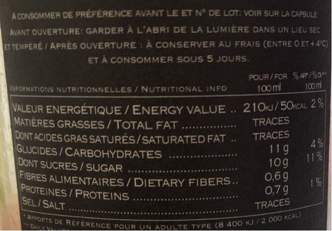 Orange blonde Pur Jus - Informations nutritionnelles - fr