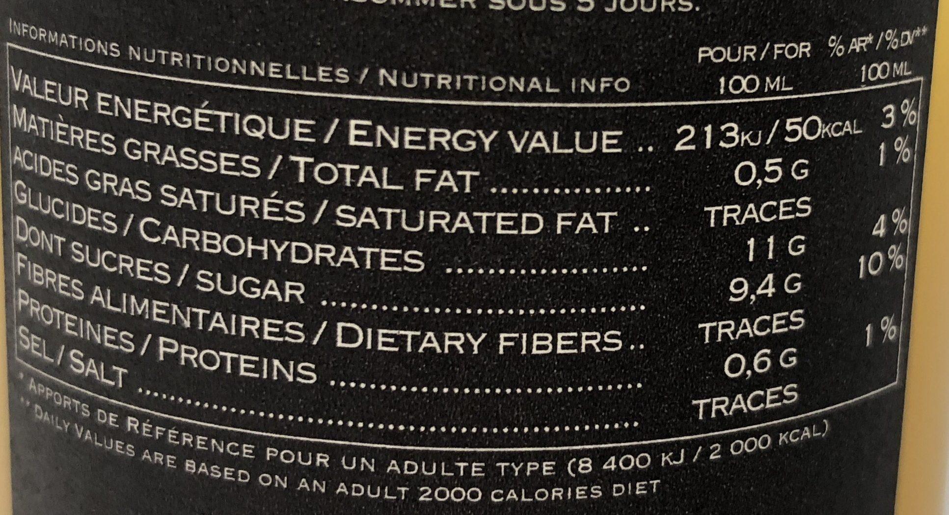 Jus mandarine - Voedingswaarden - fr