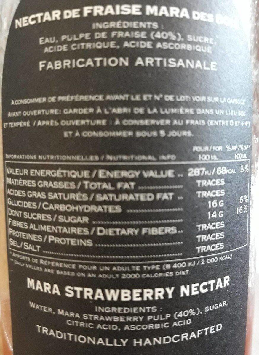 Nectar fraise mara des bois - Ingrédients