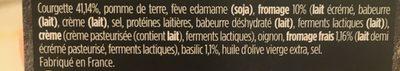 Purée courgette, fromage frais et basilic - Ingrediënten - fr