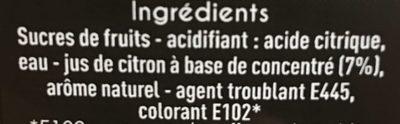 Sirop de citron - Ingrédients