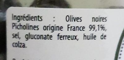 Olives Noires Picholines - Ingrédients - fr