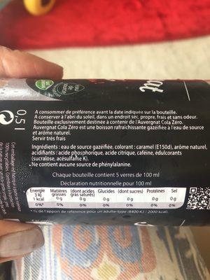 Auvergnat Cola zero - Ingrédients