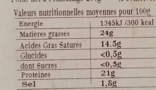 Petit Pont Cidre (24% MG) - Voedingswaarden