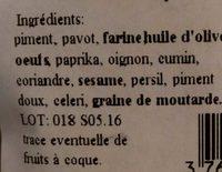 Biscuits apéritif salés aux épices - Ingrédients - fr