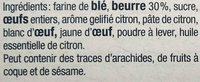 Sablés Citron - Ingredients
