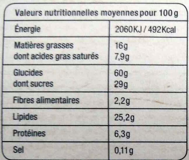 Sablés Citron - Nutrition facts