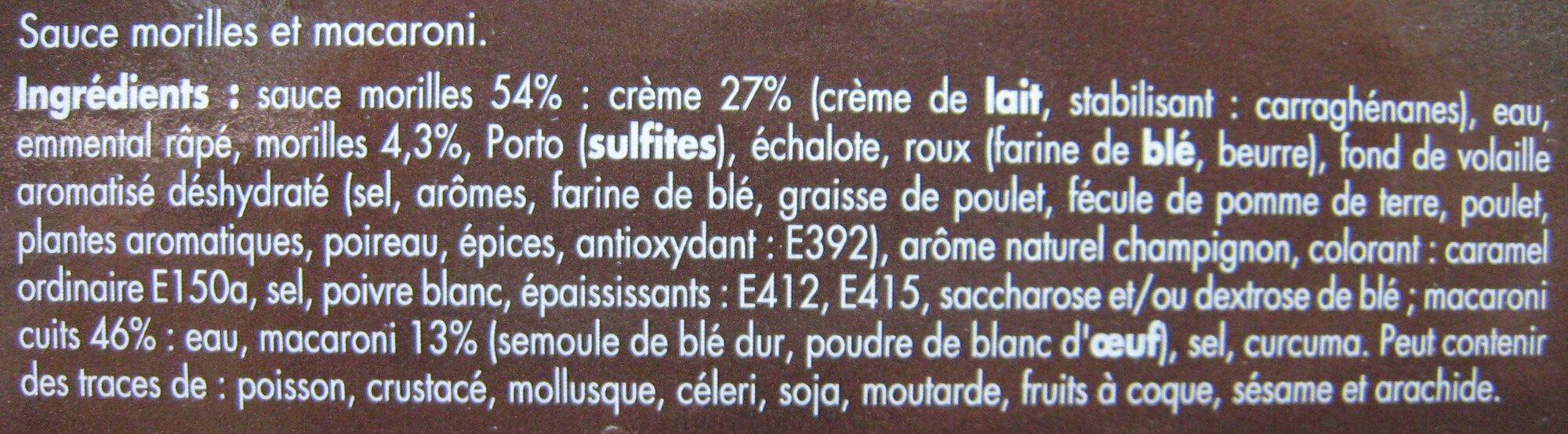 Macaroni morilles - Ingrédients - fr