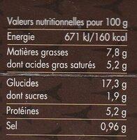 Macaroni morilles - Informations nutritionnelles - fr