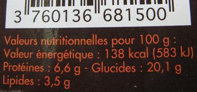 Linguine Chic (crevettes coriandre ail et poivre noir) - Informations nutritionnelles - fr