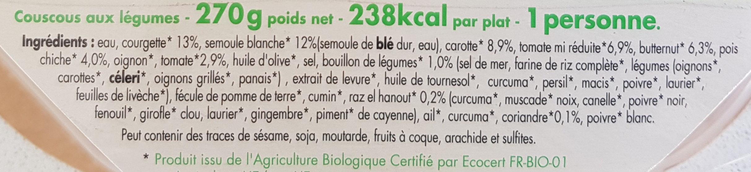 Coucous Aux Legumes - Ingrédients - fr