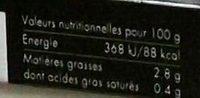Coucous Aux Legumes - Informations nutritionnelles - fr