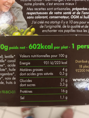 Salade 3 lentilles - Informations nutritionnelles - fr