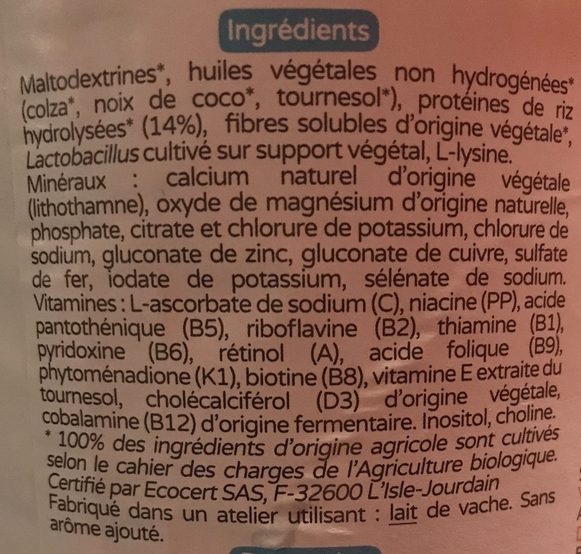 Premiriz 1er âge - Ingrediënten - fr