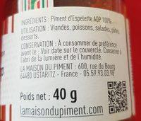 Aoc Piment D'espelette - Ingrediënten