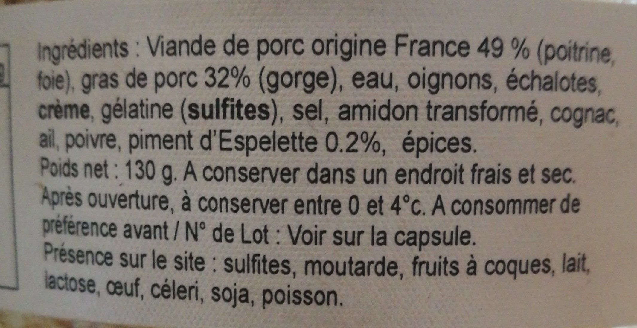 26 - Le pâté au piment d''Espelette - Ingredients