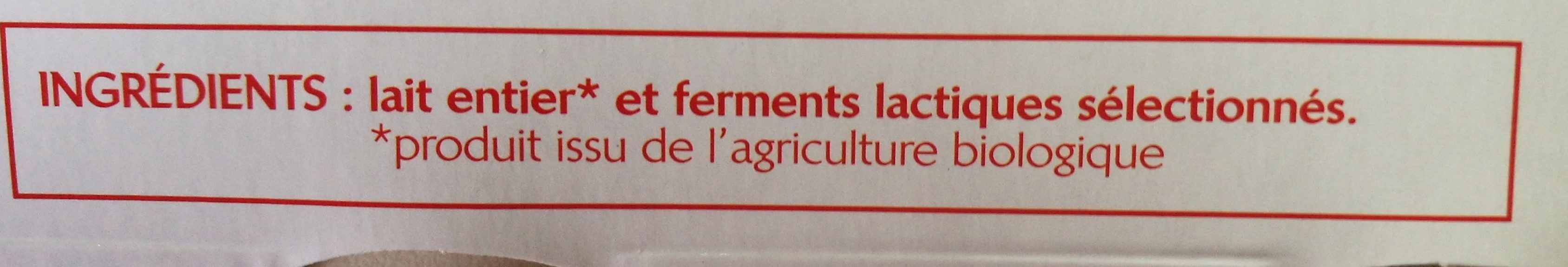 Yaourt nature entier - Ingredients