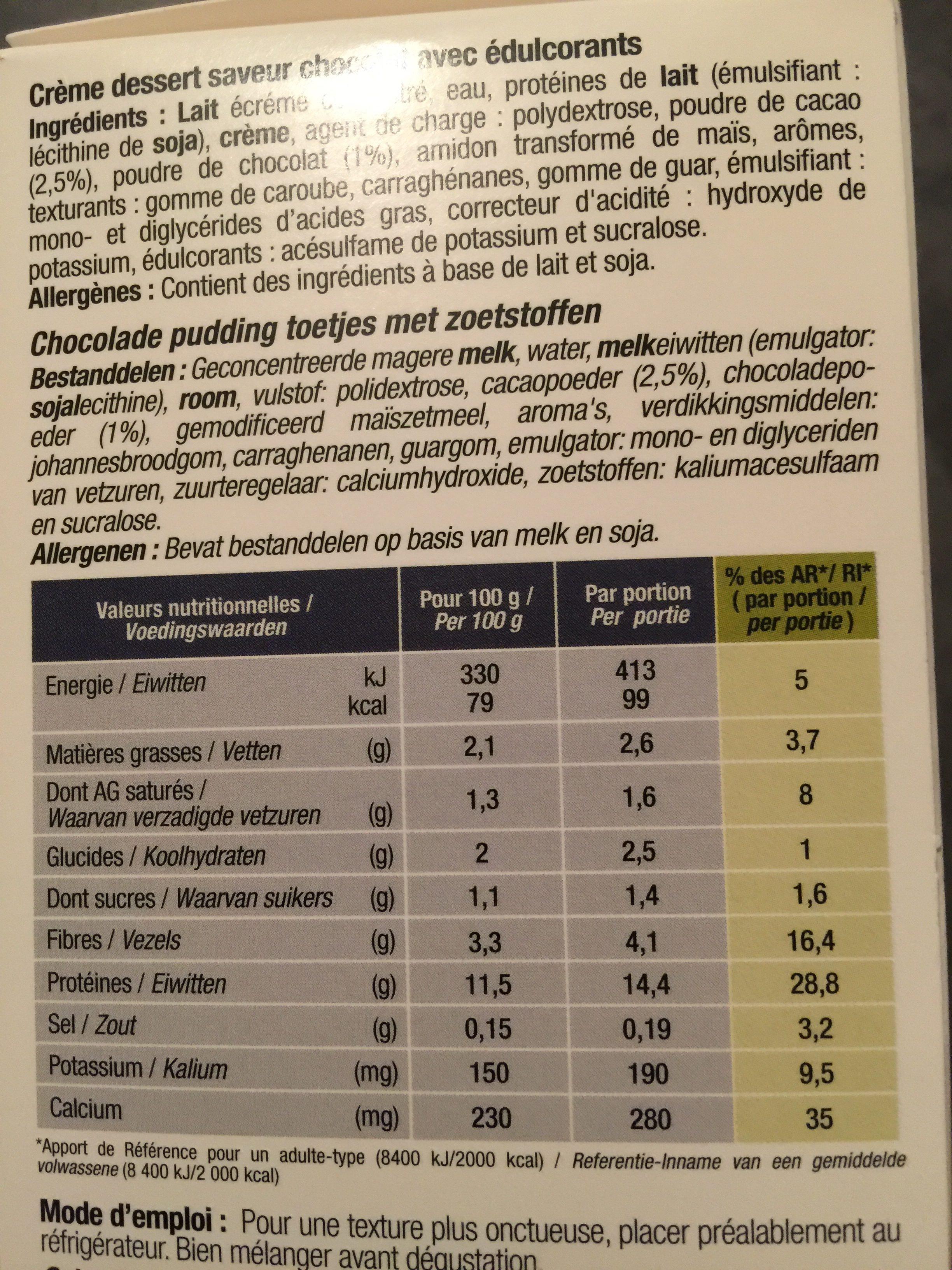 Nutrisaveurs Crèmes Dessert Au Chocolat - Ingrédients - fr