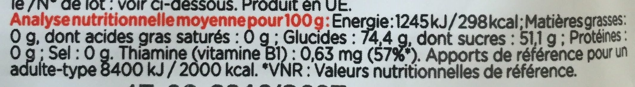 First Gel saveur Orange - Nutrition facts