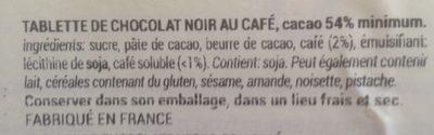 Chocolat noir café - Ingredients