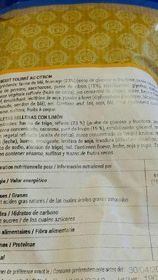 Biscuit fourré au citron - Ingredients