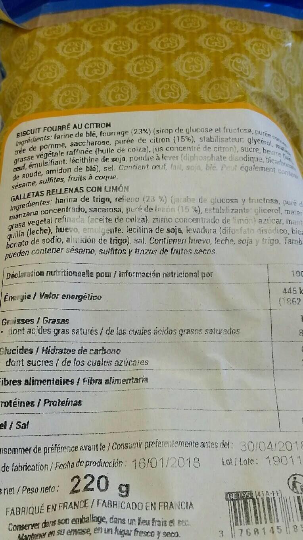 Biscuit fourré au citron - Nutrition facts