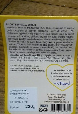 Biscuits fourrés au citron - Ingrediënten