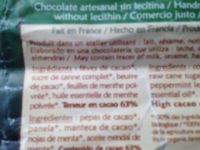 Chocolat saldac bio - Ingrédients - fr