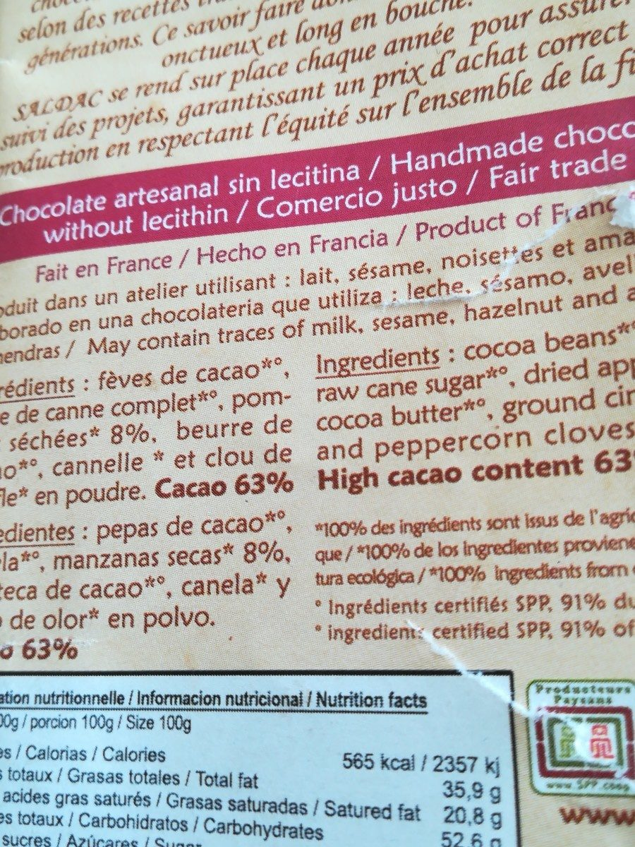 Chocolate Manzana - Ingredients