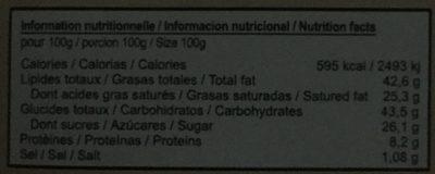 Chocolat Grand Cru, Noir Fleur de Sel - Informations nutritionnelles