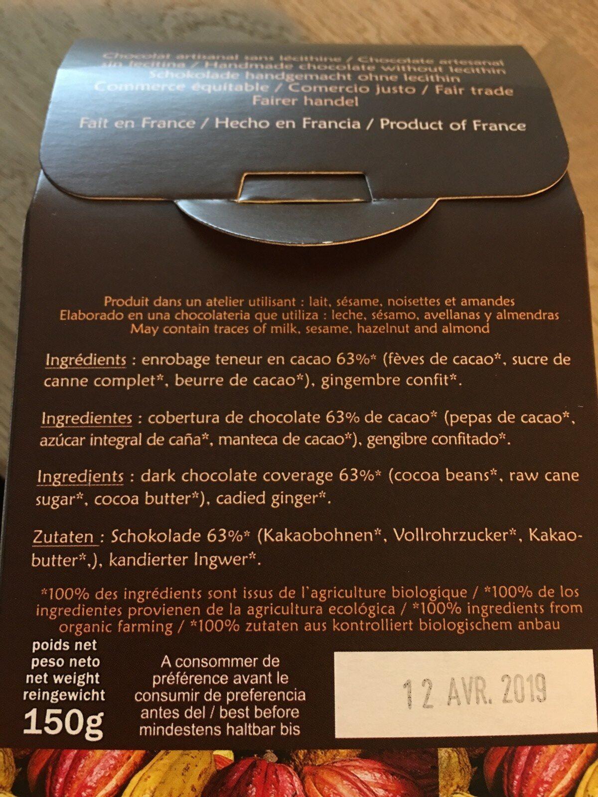 Choco gingembre Pérou - Ingredienti - fr