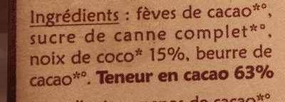 Chocolat noir coco - Ingredients - fr