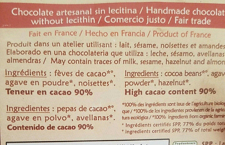 El Inti noir noisettes 90% - Ingredients - fr