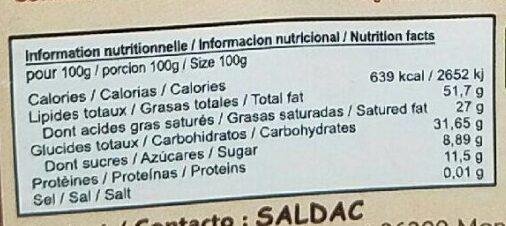 El Inti grand cru criollo - Nutrition facts